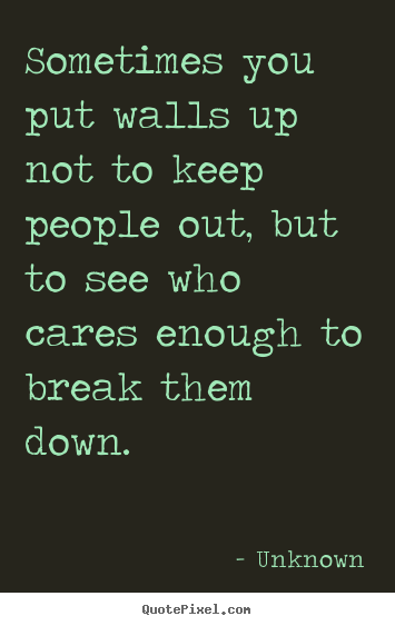 Friendship sayings - Sometimes you put walls up not to keep people out,..