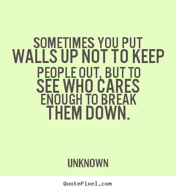 Friendship quote - Sometimes you put walls up not to keep people out, but to see who..