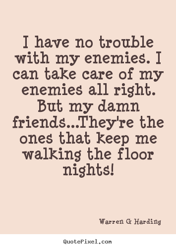 Friendship quotes - I have no trouble with my enemies. i can take care of..