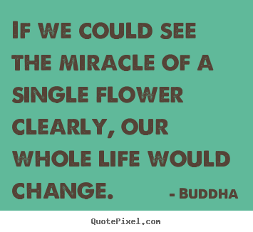 If we could see the miracle of a single flower clearly, our whole.. Buddha popular life quotes