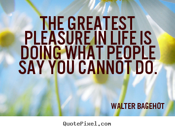 The greatest pleasure in life is doing what.. Walter Bagehot  life quotes