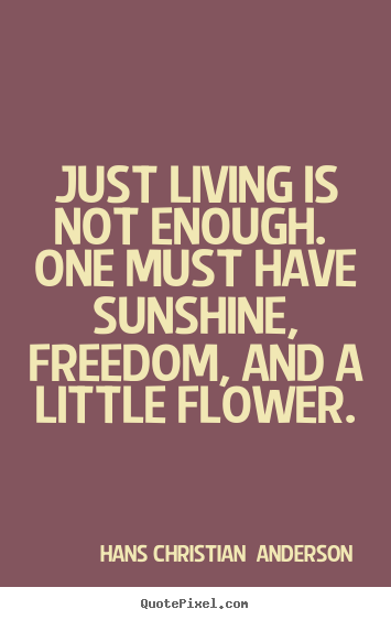 Just living is not enough. one must have sunshine, freedom, and a little.. Hans Christian  Anderson best life quote
