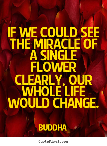 Create graphic pictures sayings about life - If we could see the miracle of a single flower clearly,..