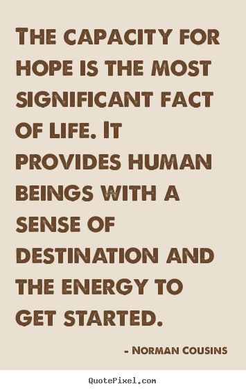 Life quotes - The capacity for hope is the most significant fact of..