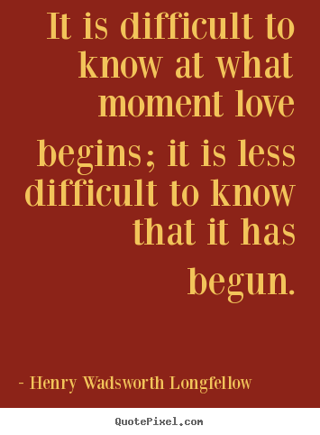How to make picture quotes about love - It is difficult to know at what moment love begins; it is less difficult..