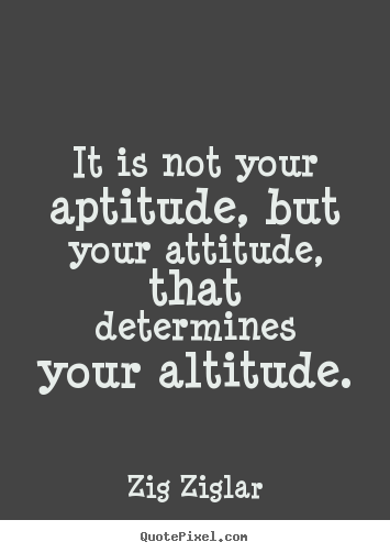 Create picture quotes about success - It is not your aptitude, but your attitude, that determines your..