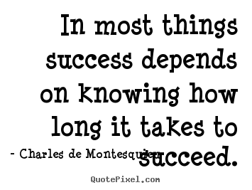 Sayings about success - In most things success depends on knowing how long it takes..