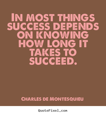 How to design picture quotes about success - In most things success depends on knowing how long it takes..