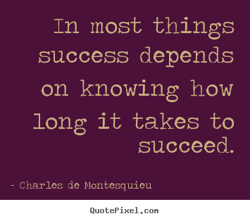 Design your own picture quote about success - In most things success depends on knowing how long it takes to succeed.