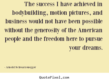 The success i have achieved in bodybuilding,.. Arnold Schwarzenegger great success quote